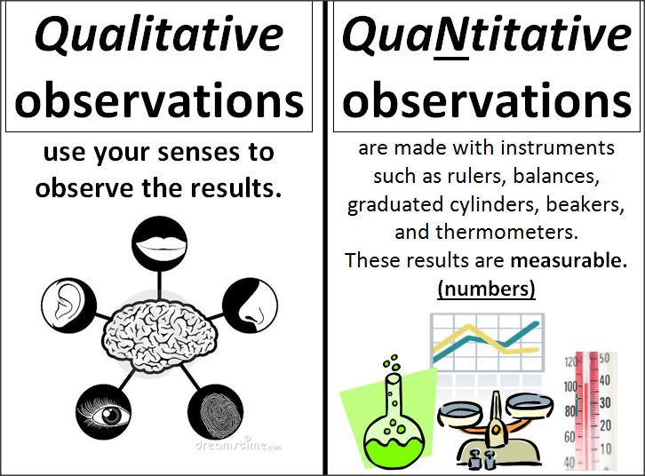 Science Anchor Charts (Qualitative vs Quantitative observations ...