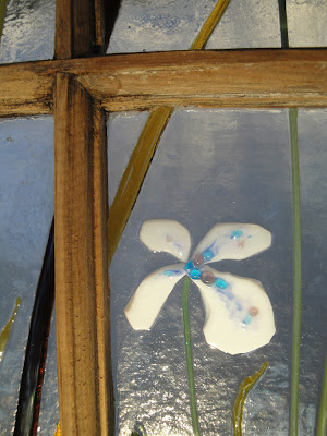Fused Glass Iris in Antique Wooden Window Frame Recycled Upcycled flutterbybutterfly