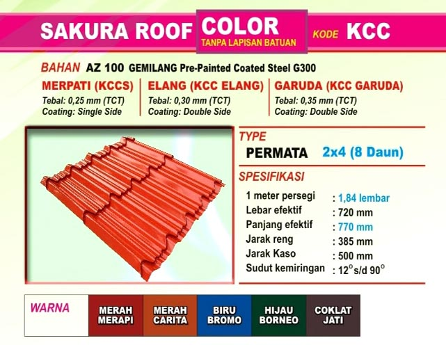Genteng Metal Sakura Roof Permata Color