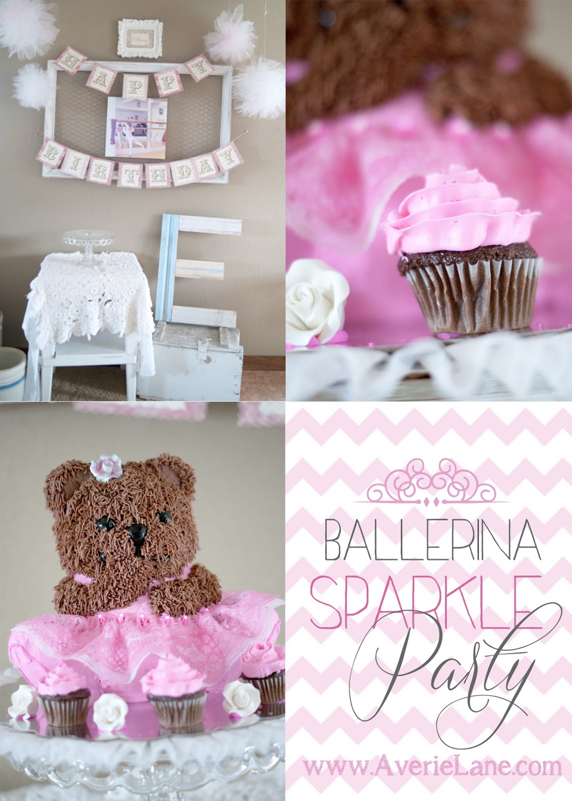 Ballerina Bear Cake , Chocolate Cupcake and Birthday Party Display