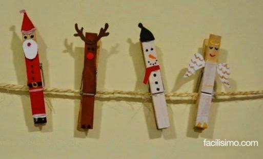 Cómo hacer adornos navideños con pinzas de la ropa ~ Y tu que buskas