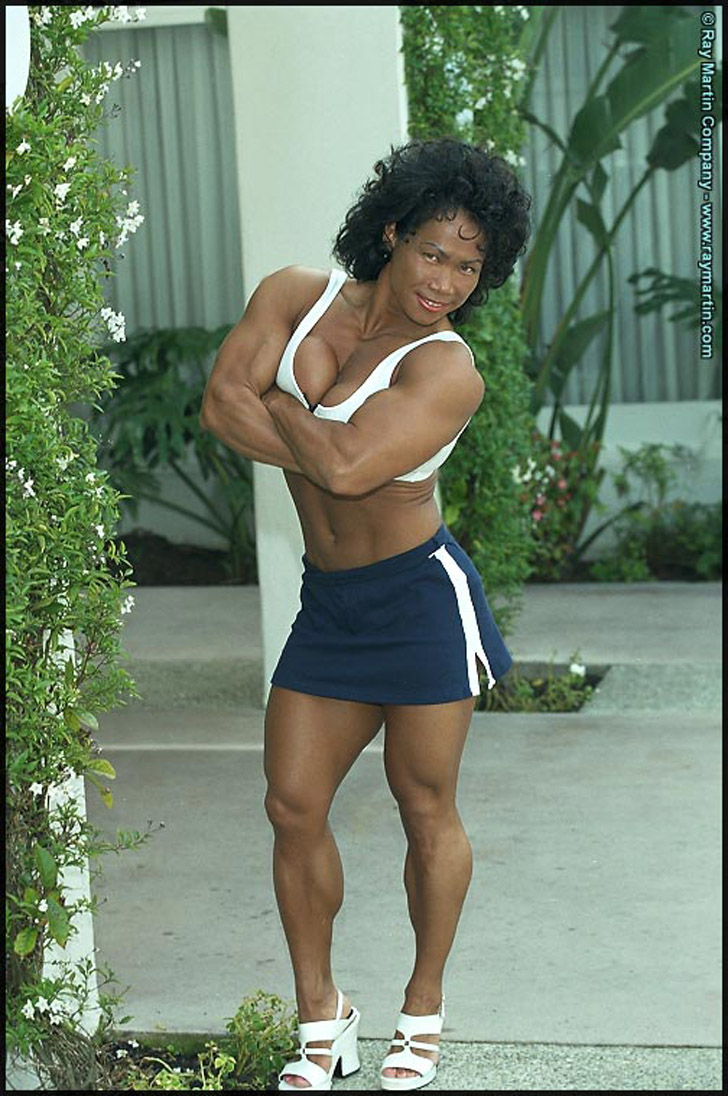 Dawn Riehl Modeling Her Muscular Calves, Biceps And Chest