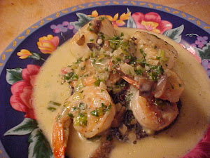 Portobellos aux ptoncles et aux crevettes