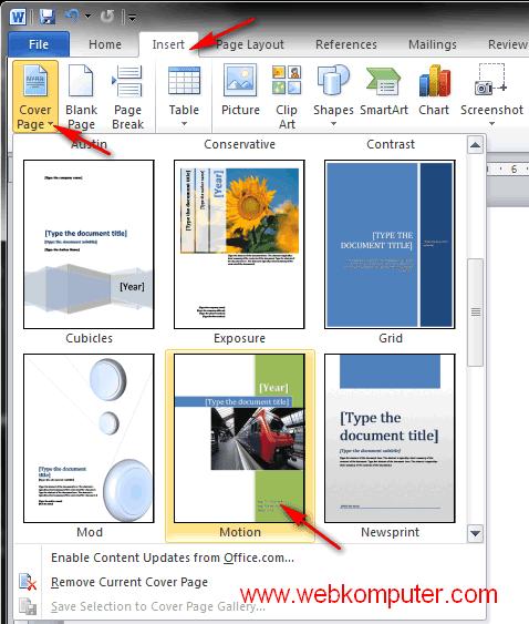 cara membuat sampul buku  cover page template  di word
