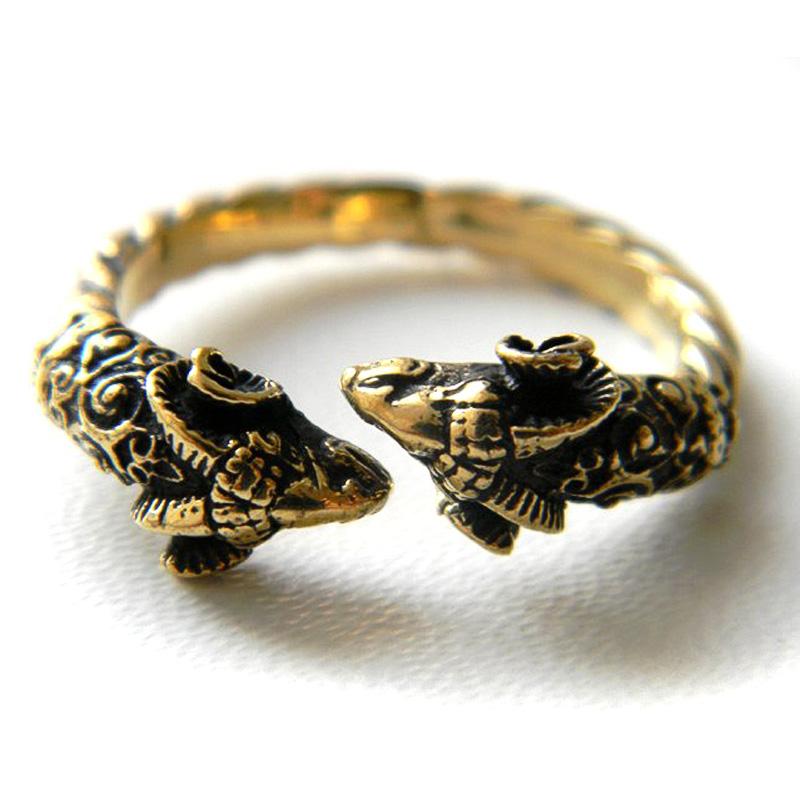 купить латунное кольцо разомкнутое регулируемый размер греческая тема