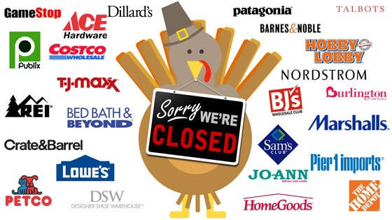 list of closed stores on Thanksgiving