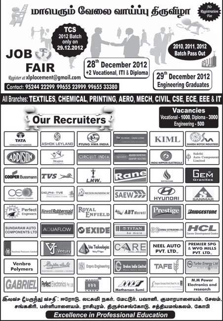 Tcs Amp Other Companies Openings For Freshers Jobs Fair In