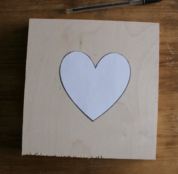 plywood with heart shape