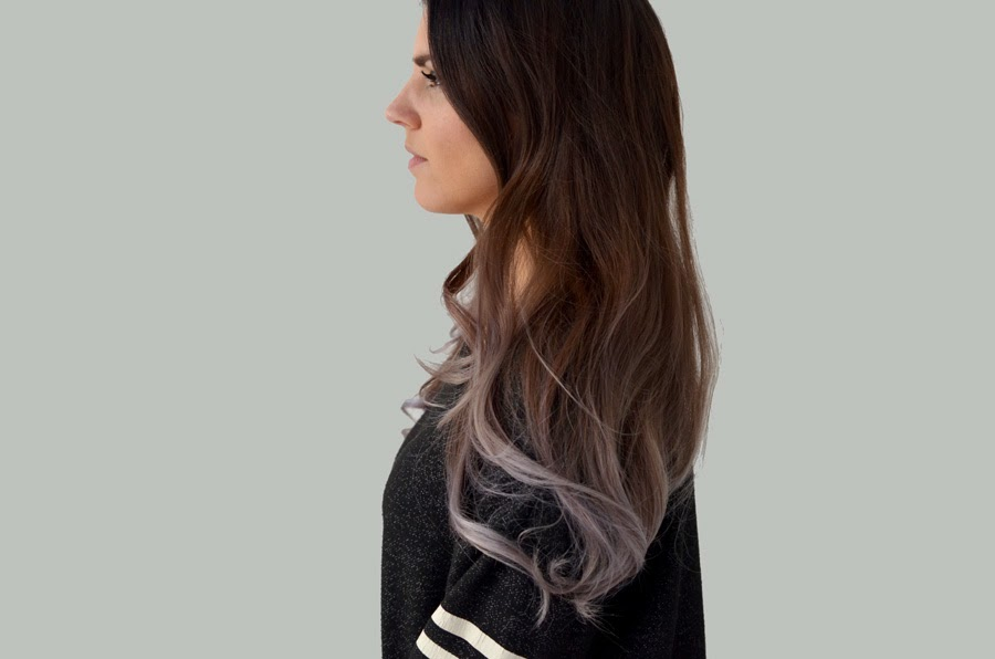 Grey purple ombre hair