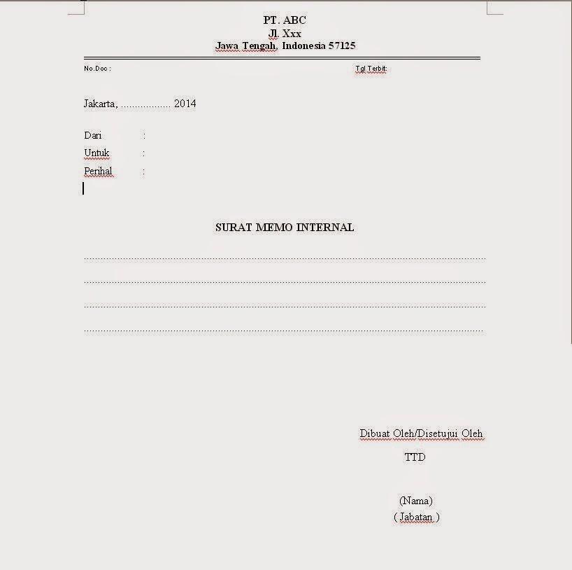 Contoh Memo Internal | Kolektor Prosedur