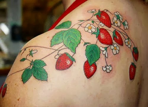 Strawberry fruit and plant tattoo on shoulders