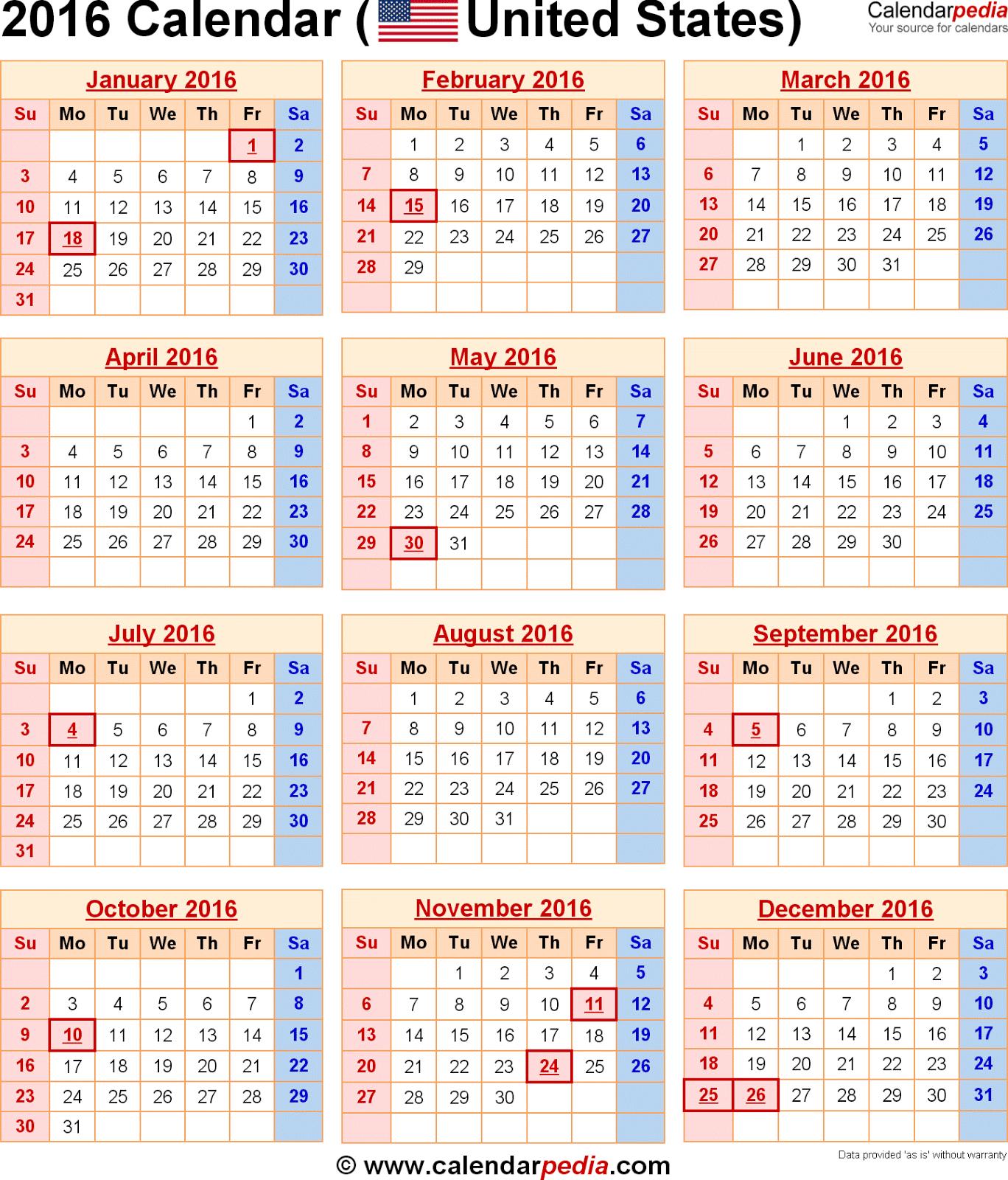 2016 calendar with us holidays 2016 printable calendar with canadian