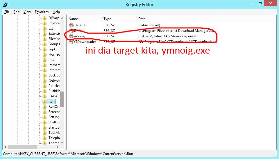 Virus bernama ymnoig.exe dan induk virus itu berada di C:\User\Hafiizh Eko M\ymnoig.exe