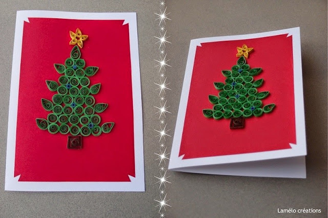 Christmas tree greeting card design made of Paper Quilling craft