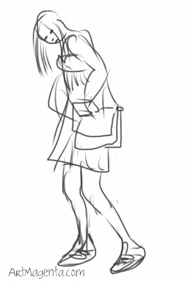 Smuggle the iPod in the school bag, a gesture drawing by Artmagenta