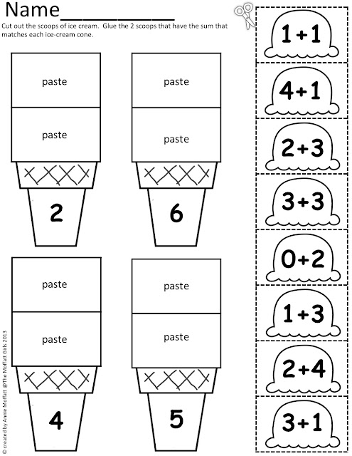 math worksheet : the moffatt girls math scoops! : Cut And Paste Addition Worksheets
