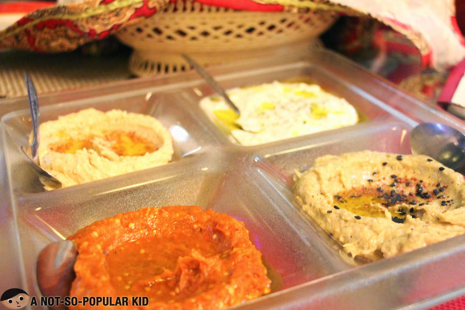 Arya DIp Platter: Hummus, Motabal, Tzitziki & Mirza Ghasemi