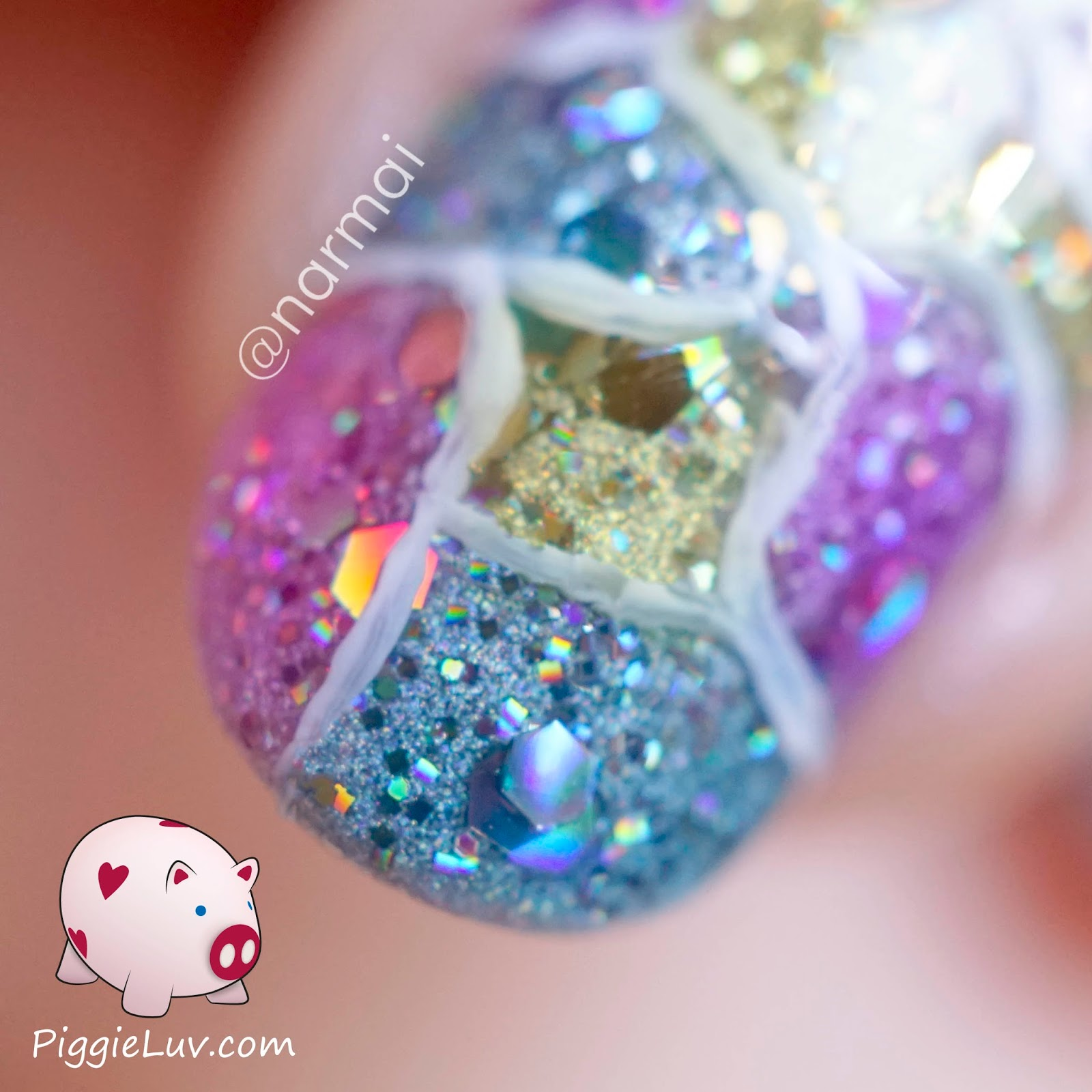Piggieluv Cracked Glitter Nail Art
