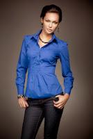 Camasa eleganta de bumbac, de culoare albastra ( )
