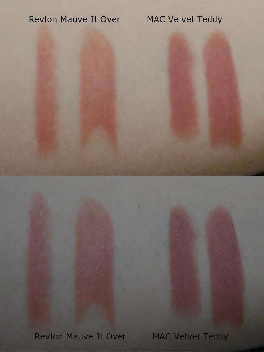Lipstick Dupe Alert  MAC Velvet Teddy vs Revlon Matte in Mauve It Over    Mac Velvet Teddy