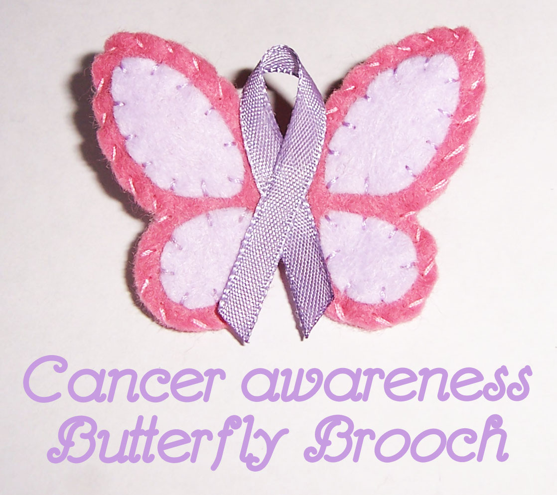 Cancer surviors day butterfly ribbon brooch handmade cuddles 6mm satin ribbon in a colour from the cancer ribbon chart see pattern download small brooch bar glue gun pattern download here nvjuhfo Choice Image