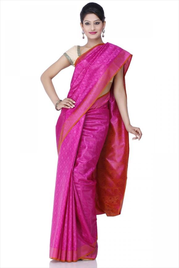 Rose Bud Polyester Banarasi Saree