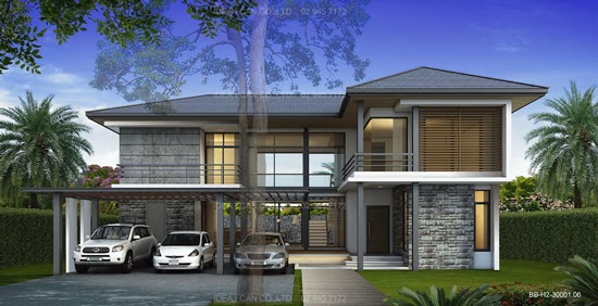 Modern Style 2 Story Home Plans For Construction In Thai Living Area 260 Sq M 4 Bedrooms 5