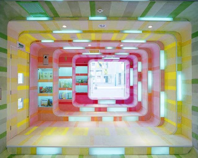 مكتبة الأطفال في الصين مكتبة رائعة بكل ألوان الطيف The-Kid-Republic-9