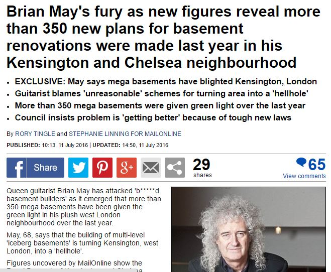 Brian May basements exclusive