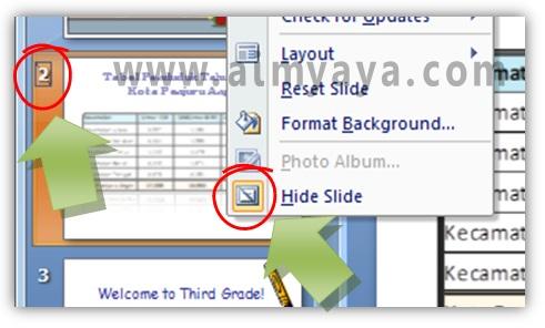 Gambar:  Status Hide slide presentasi powerpoint