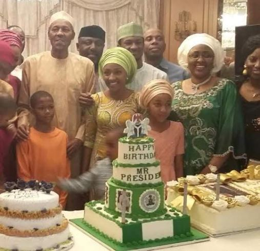 Photo: Okorocha, Amaechi And Wife At Buhari's Birthday Dinner