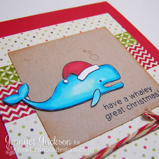 Whale Christmas card using SEAson's Greetings Stamp set from Newton's Nook Designs.