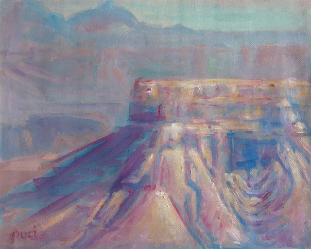 oil painting from a Google Street View scene using pastel colors