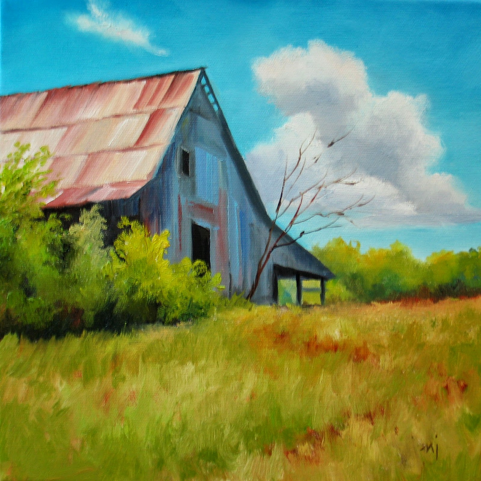 Nel 39 s everyday painting 5 4 14 5 11 14 for Watercolor barn paintings