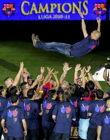 celebración del FC Barcelona campeones de la liga 2011