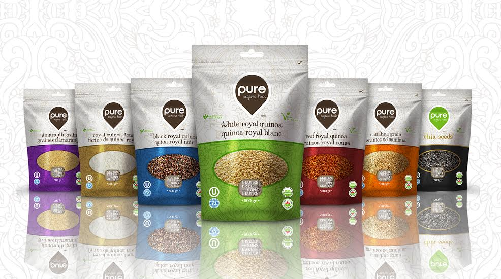 Pure Organic Foods Grains On Packaging Of The World