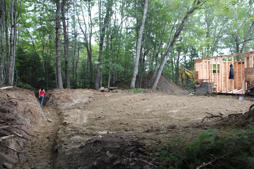 The Trench Slopes Away Into Woods Youll Also Notice That Weve Started Removing Wall Sheathing