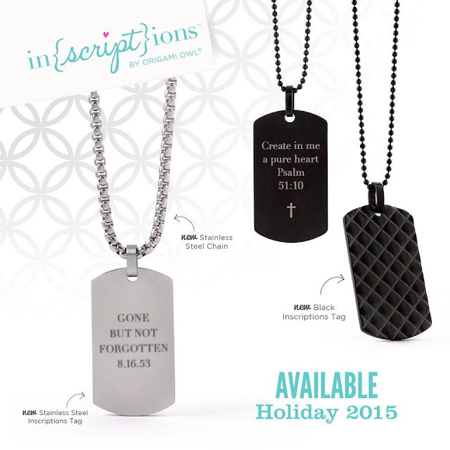 Origami Owl Inscriptions™ Tags on Stainless Steel Chain available at StoriedCharms.origamiowl.com