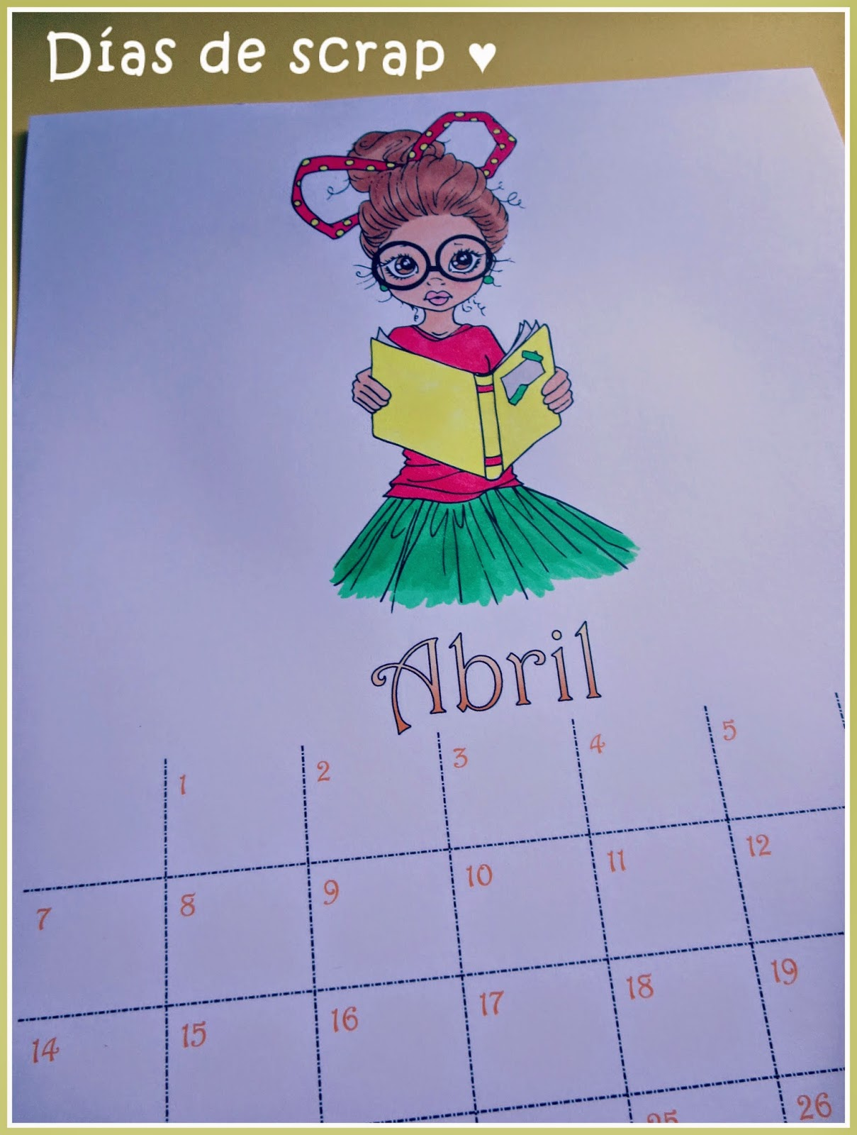 scrap calendario abril saturated canary