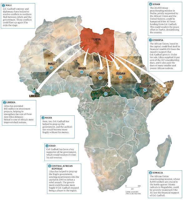 El poder de Gadafi en África