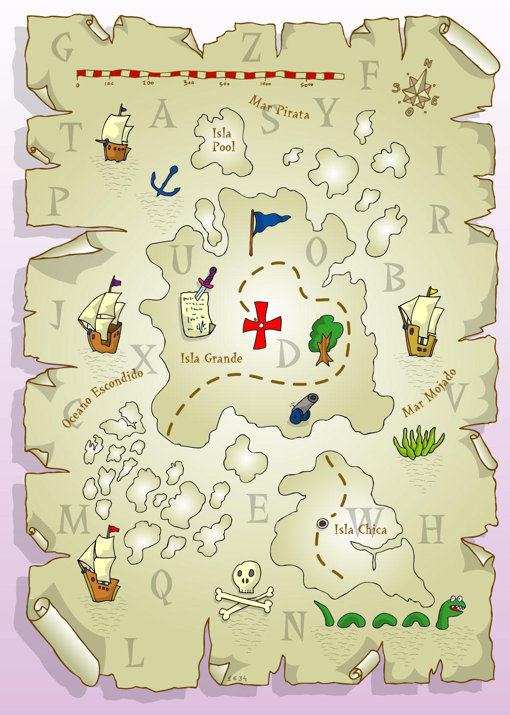 Perfecto Plantilla De Mapa De Búsqueda Del Tesoro Imagen - Colección ...