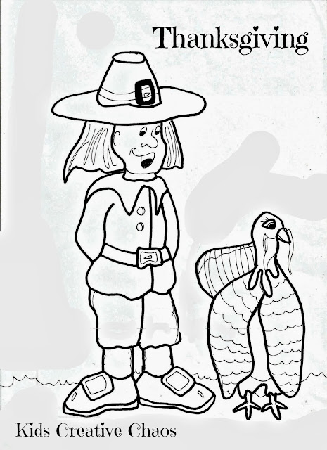 Thanksgiving turkey and pilgrim free printable coloring page.