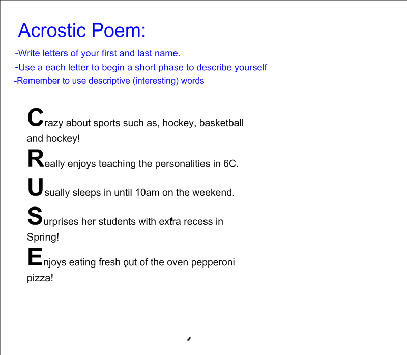 read write think acrostic poem How to write an acrostic poem when we think of 'poetry', we usually think of poetry that rhymes but there are many other styles of poetry, and each one is unique.