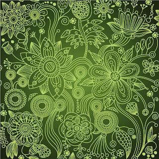 シームレスな緑の植物柄背景 Green Floral Seamless Background イラスト素材