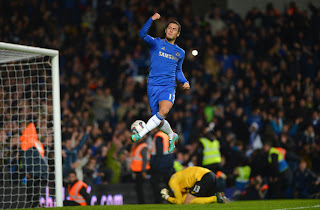 Eden Hazard penalty against against Manchester United for Chelsea in the football Capital One Cup