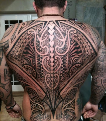 Tribal full back tattoos for men