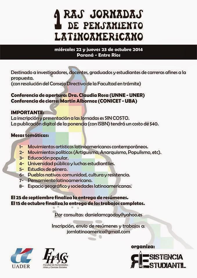 (UADER) PRIMERAS JORNADAS DEL PENSAMIENTO LATINOAMERICANO