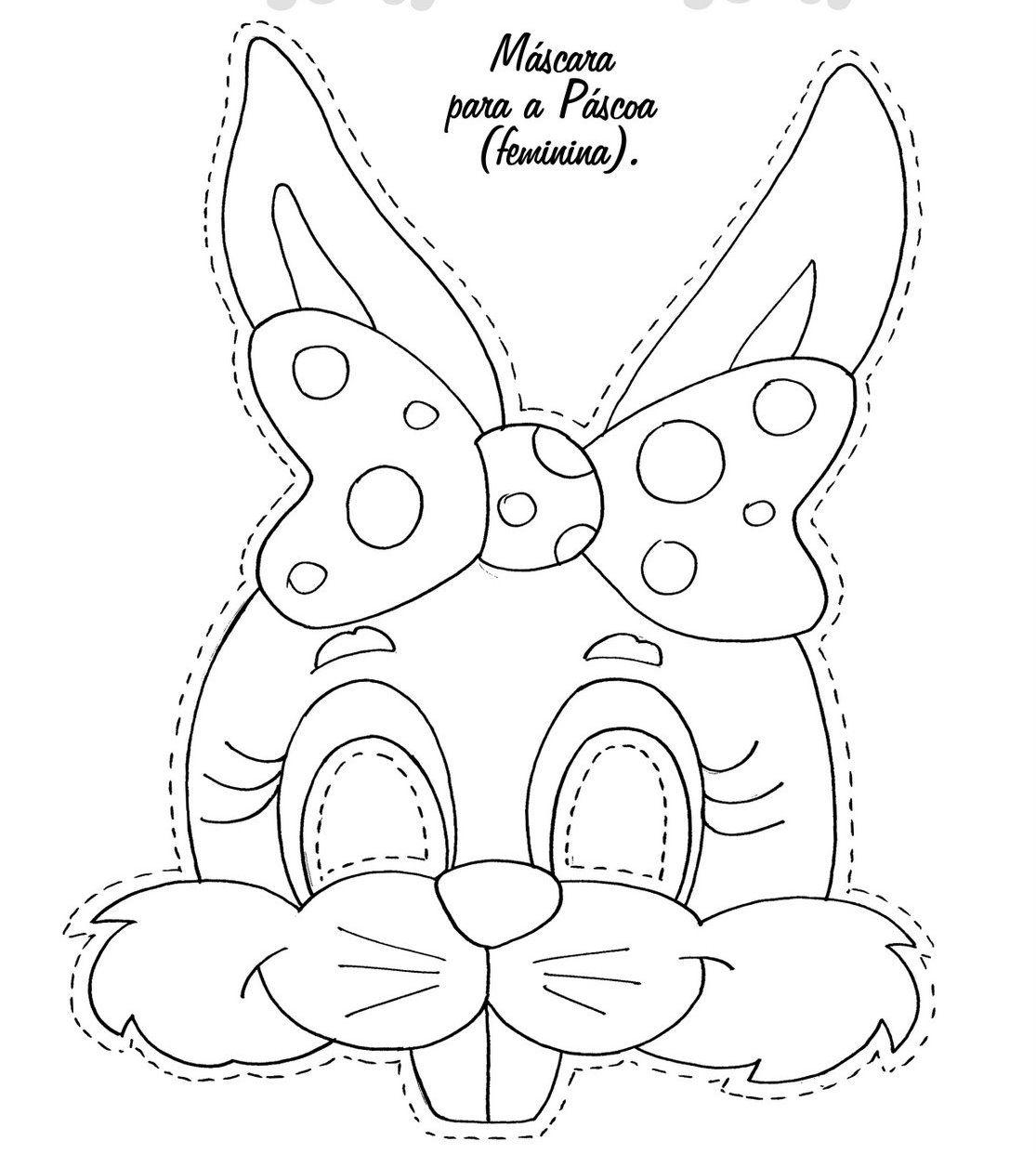 Máscaras de coelho de páscoa para imprimir COLORIDAS E PRETO E ...
