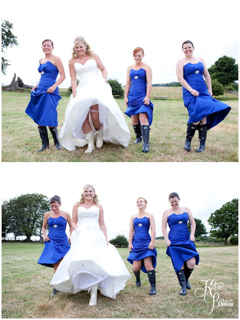 blue bridesmaid dresses, wellies on bride, wedding wellies, whitley chapel, st helens church wedding, whitley chapel wedding, curly farmer, katie byram photographer, one digital image, northumberland wedding photographer, wedding wellies, wedding jewellery