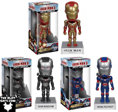 Marvel's Iron Man 3 Movie Wacky Wobbler Bobble Heads by Funko - Iron Man, War Machine & Iron Patriot